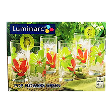 Стаканы  POP FLOWERS GREEN высокие 27cl 6шт. H8019