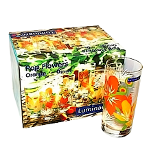 Стаканы  POP FLOWERS ORANGE высокие 27cl 6шт.H8018