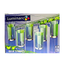 Стаканы  STRIPES BLUE высокие 27cl 6шт.